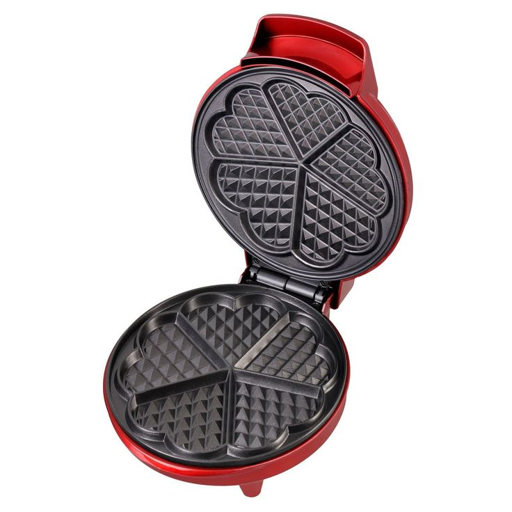 Add some extra love to your breakfast with this fun waffle maker, which features heart-shaped sections. Easy to use, this iron even distributes heat so you can make wonderful, tasty waffles. Product F