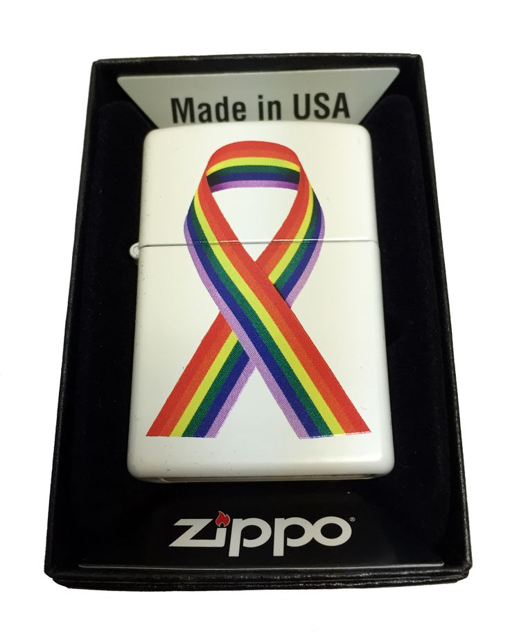 Zippo Custom Lighter - LGTBQ Gay Pride Ribbon - Regular White Matte