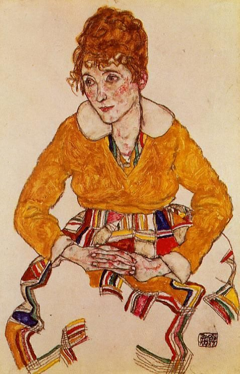 """Portrait of the Artist's Wife"" 1917 by Egon Schiele (1890–1918): Austrian painter died of Spanish Flu, age 28. Protégé of Gustav Klimt, Schiele major figurative painter of early 20th century. Like Klimt, his portraits of women are intensely erotic) wikipedia http://www.wikipaintings.org/en/egon-schiele"