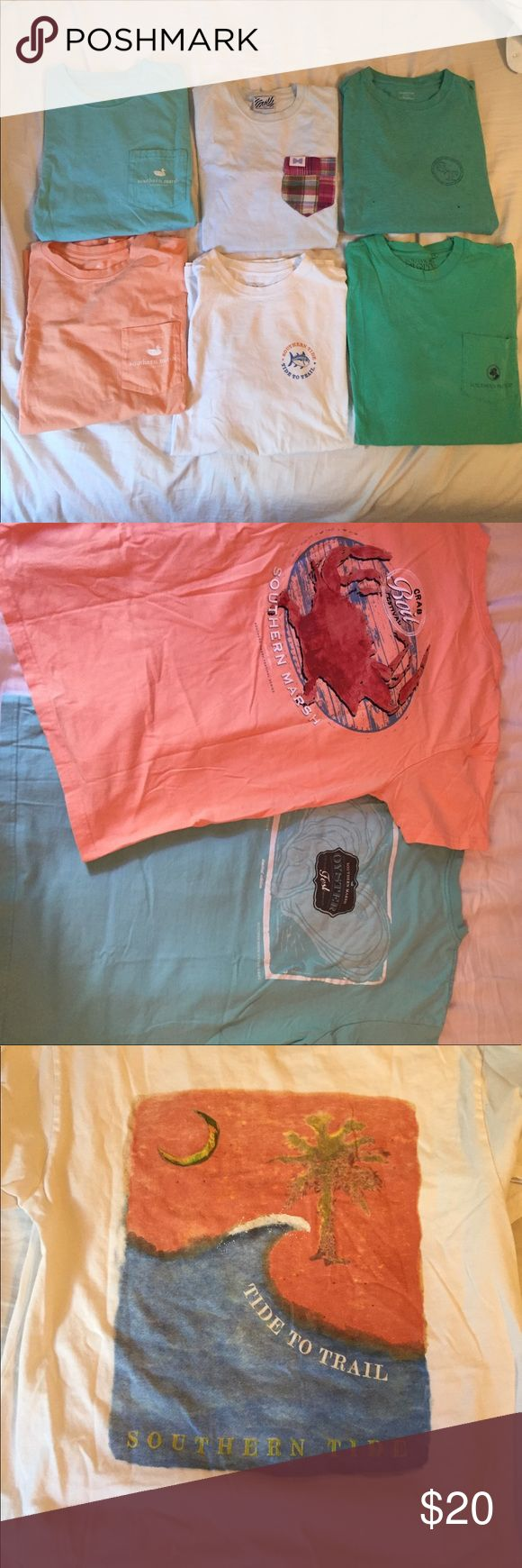 Southern Prep Style Tee Shirt Lot All have been preloved and are men's sizes. Orange & Blue Southern Marsh Shirts are both Size Medium. Southern Proper size Medium. Has small staining on front shown in pictures. Fraternity Collection Plaid Pocket Tee size small. Both Southern Tide Shirts are an xtra small. Green southern tide shirt has two holes in the front. Ask if you'd like to separate !! Southern Tide Tops Tees - Short Sleeve
