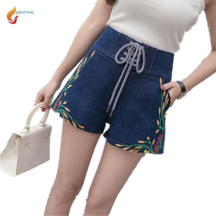 2017 Summer New Fashion Embroidery Denim Shorts Women High waist Large size Casual Shorts Summer Ladies Denim Shorts AD30JQNZHNL #Affiliate