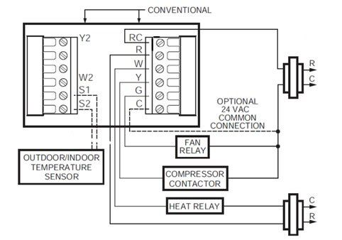 single stage heat pump thermostat wiring diagram