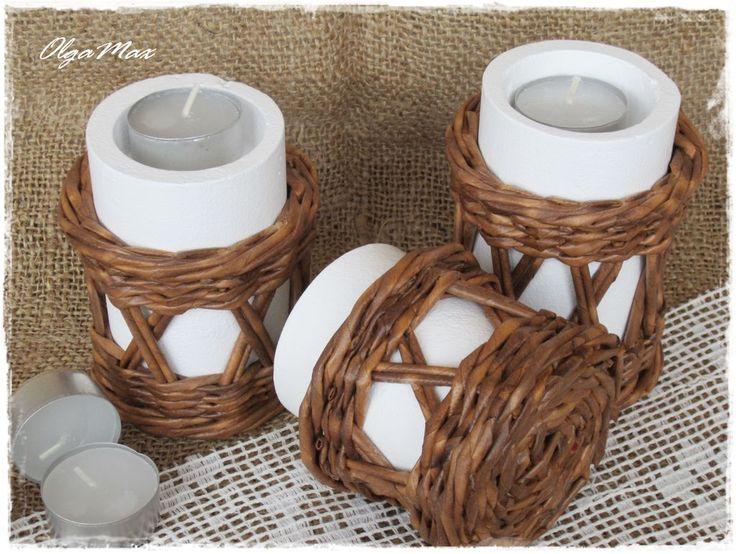 Купить Плетеные подсвечники (3 штуки) - коричневый, плетение, подсвечник, Свечи, свеча, греющая свеча