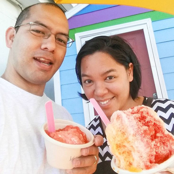 Getting our shave ice fix it was yummy but i really