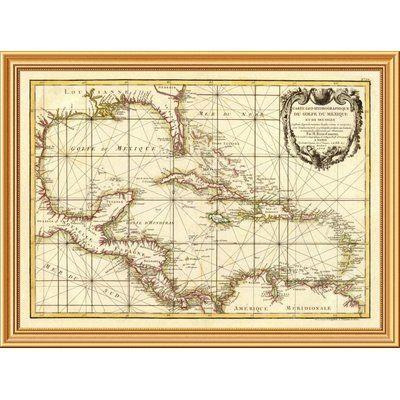 "East Urban Home 'Golfe du Mexique, 1762' Framed Graphic Art Print on Canvas Size: 30""H x 40""W x 1.5""D"