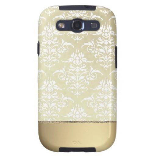 Elegant Light Gold Vintage Damask Pattern Galaxy S3 Case $49.95 #samsung #galaxy #s3 #vintage #damask #pattern