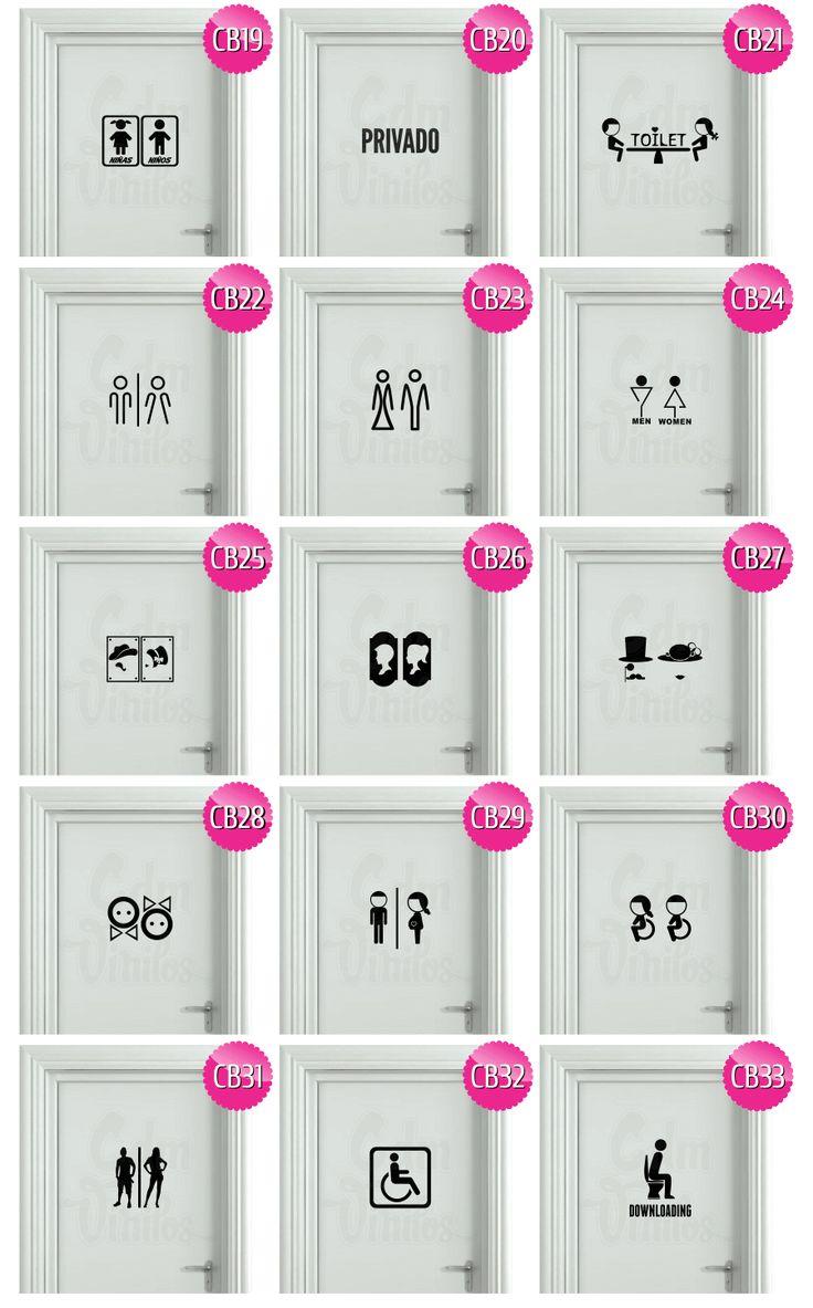 Vinilo cartel baño puerta gato divertido pictograma buho retro coronas