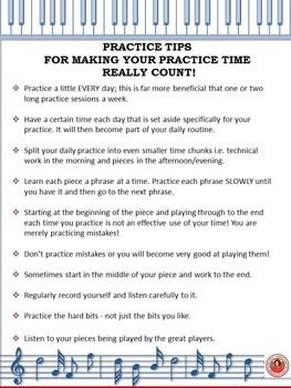 FREE Download. A one page handout of TEN practice tips! A great 'first page'in a students music folder!