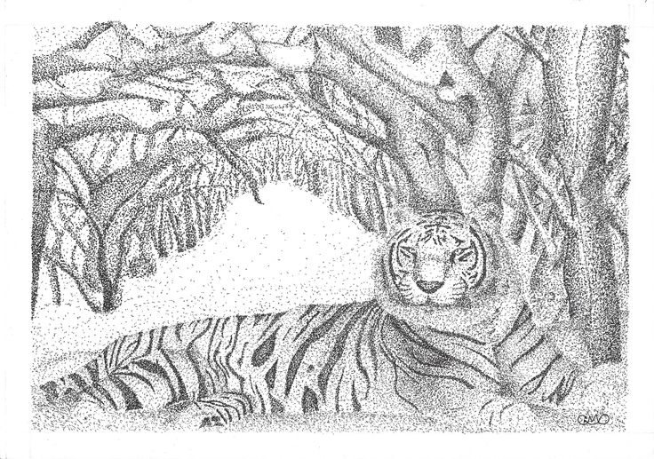 Snow Tiger (Stippling/Pontilhismo)
