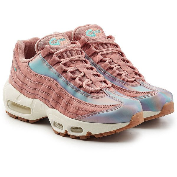 Nike Air Max 95 Sneakers (765 PLN) ❤ liked on Polyvore featuring shoes, sneakers, red, red sneakers, nike trainers, nike shoes, nike footwear and red shoes