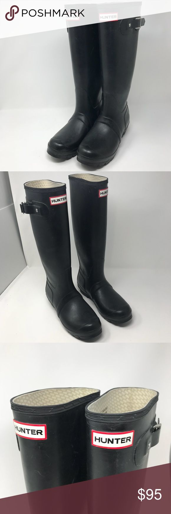 Hunter tall original rainboots Excellent used condition, tall black and beautiful!!! No holes or scrapes. Size F 6 / M 5 Hunter Shoes Winter & Rain Boots