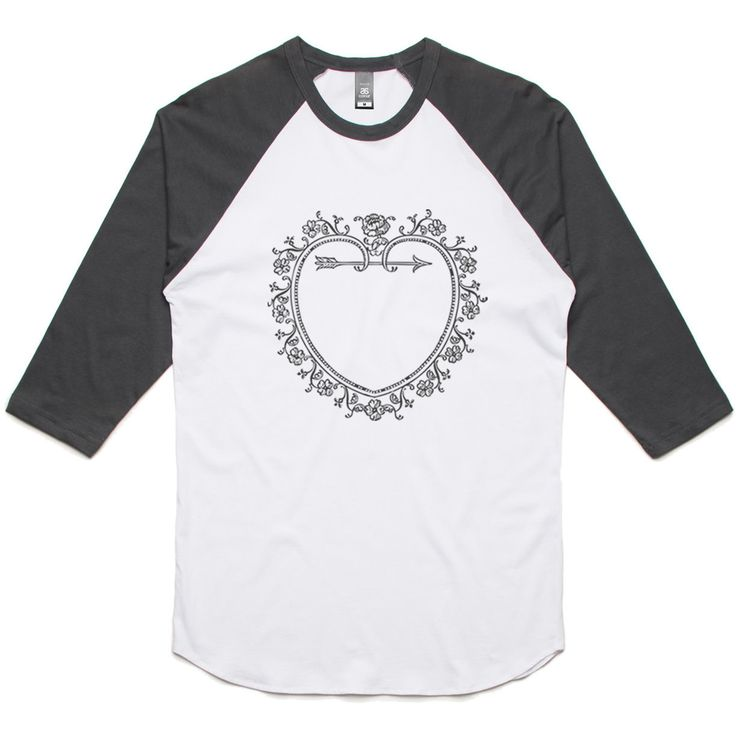 theIndie Love Heart Frame (Grey) 3/4-Sleeve Raglan Baseball T-Shirt