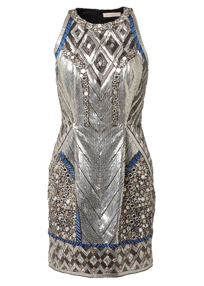 Mirrors multiplied into mosaics. Over 50,000 silver beads, metallics sequins and facetted crystals were used in the hand embroidery of this dress. Matthew Williamson's Pre Fall 2015 Fontaine Mirror Cocktail Dress. Click to shop the look.