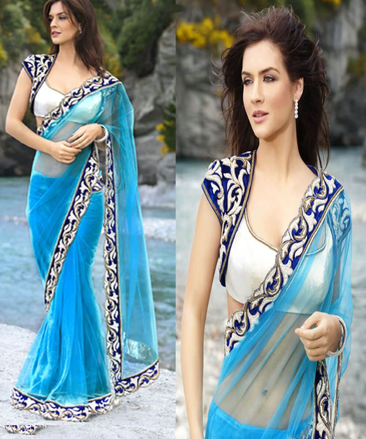 Sky-Blue Net Saree With Border And Blouse Work