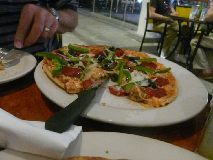 """California Pizza Kitchen, Orchard Road, Singapore. """"The Works"""" pizza. October 2011"""