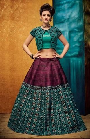 Purple And Sea Green Silk Latest Lehenga Online ,Indian Dresses - 1
