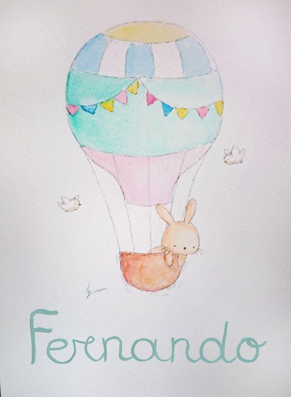 Conejito en globo. Acuarela original personalizada por AidaZamora