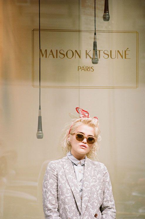 Sky Ferreira models for Maison Kitsune.