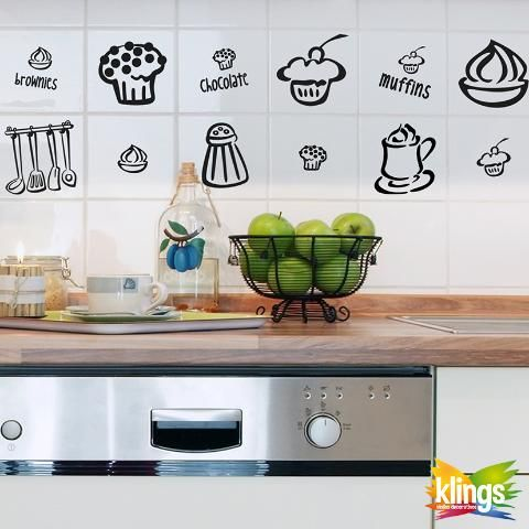 Vinilos Decorativos - COCINA, pastelitos, muffin, cucharones, salero, dulces, cafe WALL STICKER DECOR