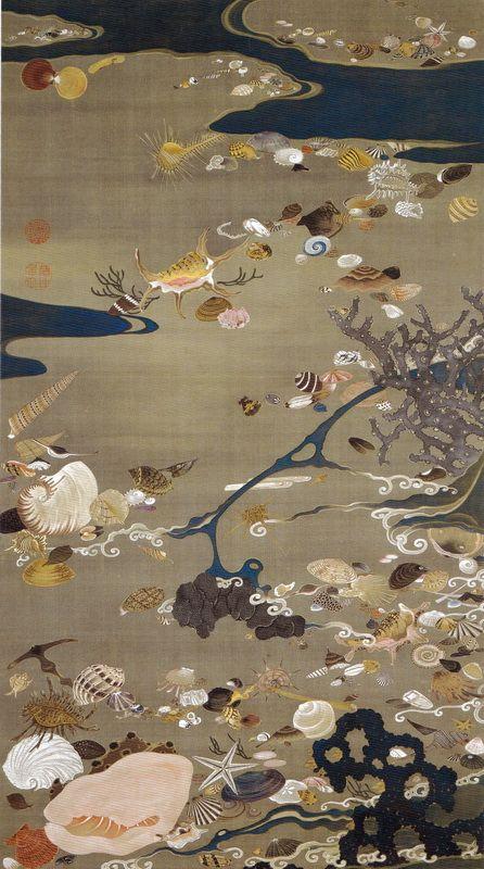 伊藤若冲 Ito Jakuchu/24 貝甲図 Baiko-zu(Shells)
