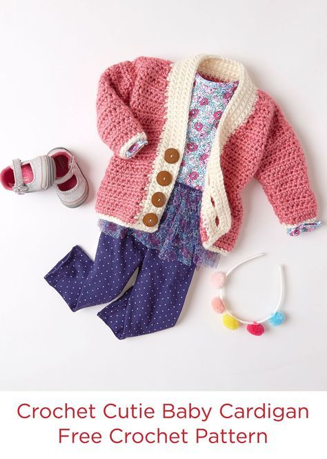 Crochet Cutie Baby Cardigan Free Crochet Pattern in Red Heart Soft Essentials Yarn -- This cardigan is perfect for any baby in your life. The bulky hand of Soft Essentials means it works up quickly for you, and is nice and cozy for baby. We love this cardigan so much we made a knit version too!