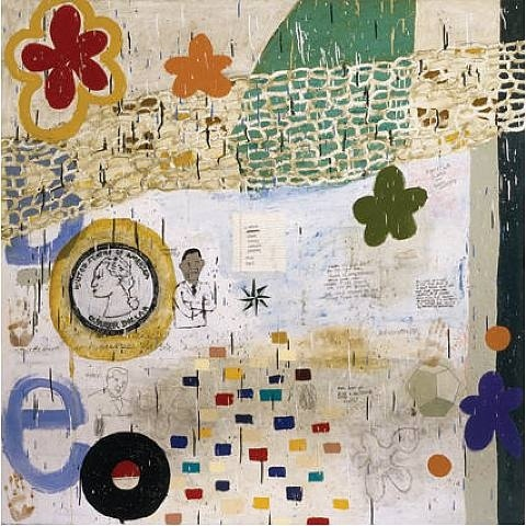 """New Research"" - Squeak Carnwath , Oil and Alkyd on Canvas over Panel 2009 http://www.squeakcarnwath.com/"