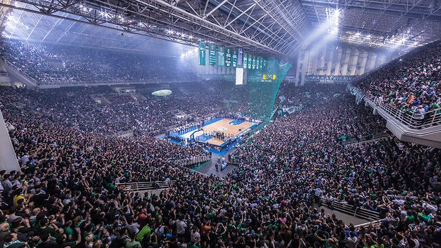 Single 2-hour Timelapse of the Olympic Indoor Sports Arena (OAKA) in Athens, Greece filling up  during the Euroleague Playoffs between Panathinaikos Athens and Barcelona.