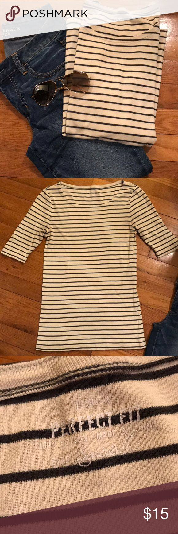 J. Crew Perfect Fit striped tee Women's J. Crew 'Perfect Fit' striped tee, size small. Gently used, missing one snap from elbow (see photos). Otherwise a great, classic shirt! Color is like an off white with dark grey stripes. Has boat neck with 3/4 style sleeves. 💯 percent cotton. Soft and comfy!  Perfect with jeans and camel accessories!! Smoke free home. Make offer! J. Crew Tops Tees - Long Sleeve