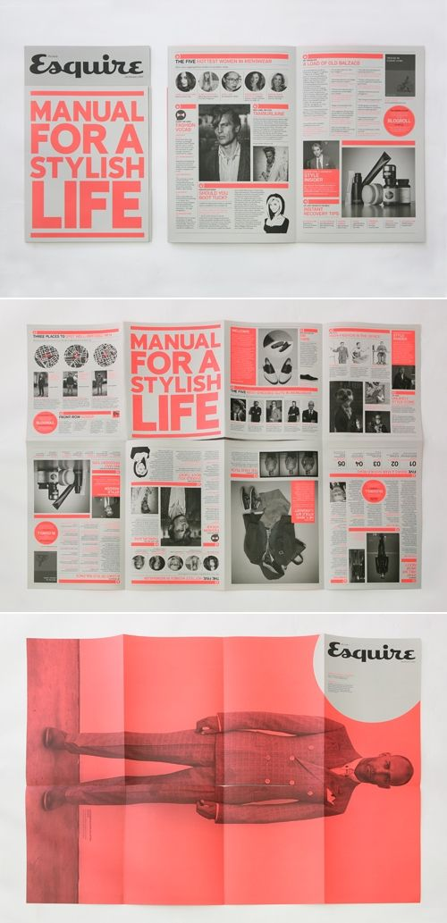 manual for a stylish life. -Has an old vintage wartime look to it -Red draws attention and works well with black -busy without being hectic. Great use of bold type.: