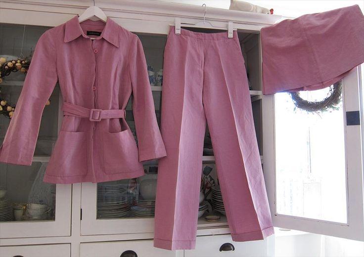 Lene Sand fri frakt rosa/lila kostym/kavaj/byxa/byxor/kjol/jacka på Tradera.