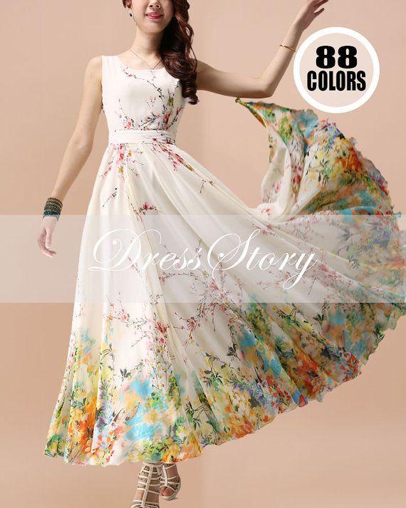 Floral+Maxi+Dress++Chiffon+Maxi+Dress++Yellow+Floral+by+DressStory,+$169.99