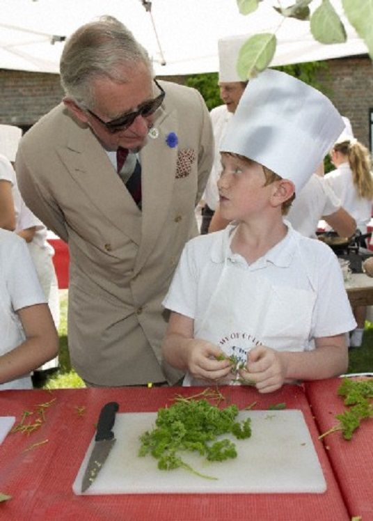 HRH Prince Charles meets children form Steyning Primary School after attending the 'Reversing the Trend' conference organised by Plantlife,The Rare Breeds Survival Trust and The Wildlife Trusts which aims to find ways to begin to halt the decline in UK biodiversity in species rich grasslands at Wiston House in West Sussex, 18.07.2014.