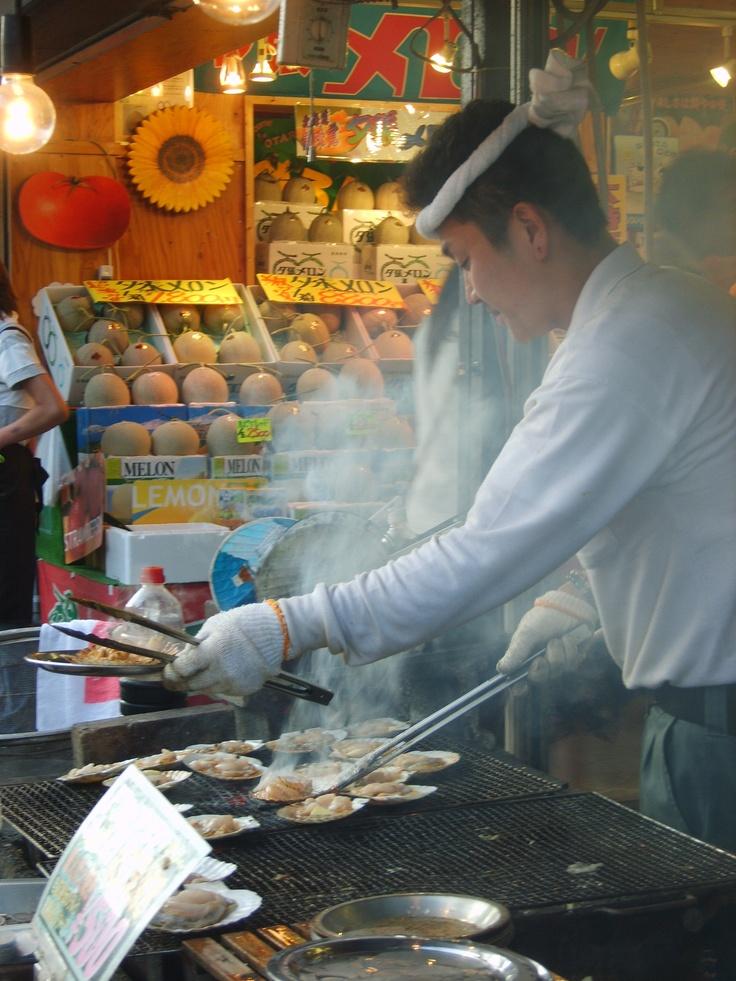 Grilled scallops at a street stall in Otaru, Hokkaido