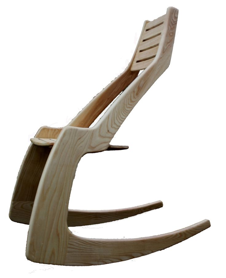 Kangaroo Rocker in ash. Designed by Jeremy Broun in 2010 and exhibited at 'Made to Sit' (London Design Festival).