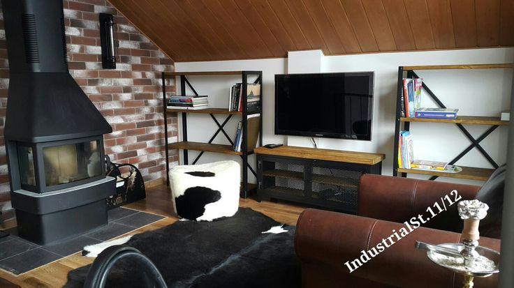 Купить или заказать Комплект мебели для гостиной в интернет-магазине на Ярмарке Мастеров. Комплект мебели для гостиной, Индустриальный Лофт. Центральная тумба и каркасы стеллажей металл, покрашены порошком в черный - матовый. Столешница и полки массив сосны, искуственно состарены брашированием и закрыты матовым интерьерным воском цвет- Дуб.