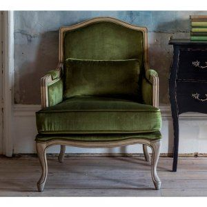 Hathaway Moss Green Velvet Armchair - French Bedroom Company Chair Sale