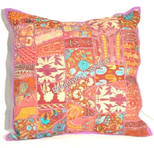 """24"""" Indian Ethnic Handmade Embroidery Vintage Pillowcase Vintage Patchwork Throw"""
