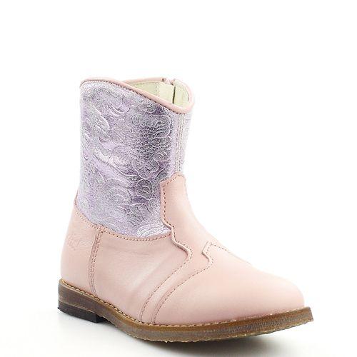 Clic! laarzen 9109 roze met metallic paarse bloemenprint