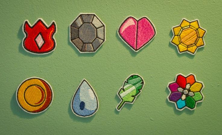 Kanto Gym Badges -- Embroidered Iron-on Pokemon Patch Set. $30.00, via Etsy.