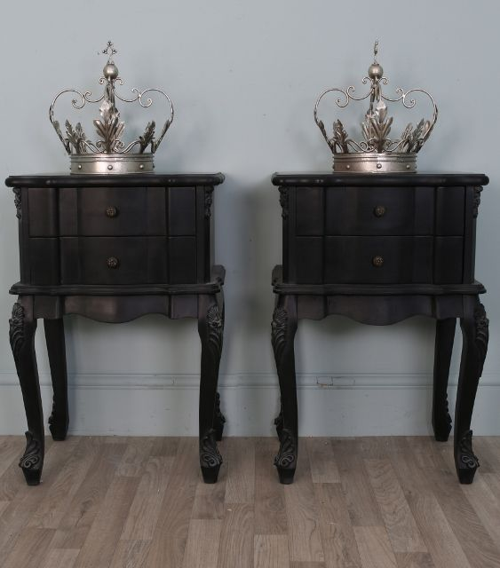 black bedside cabinets french style 1