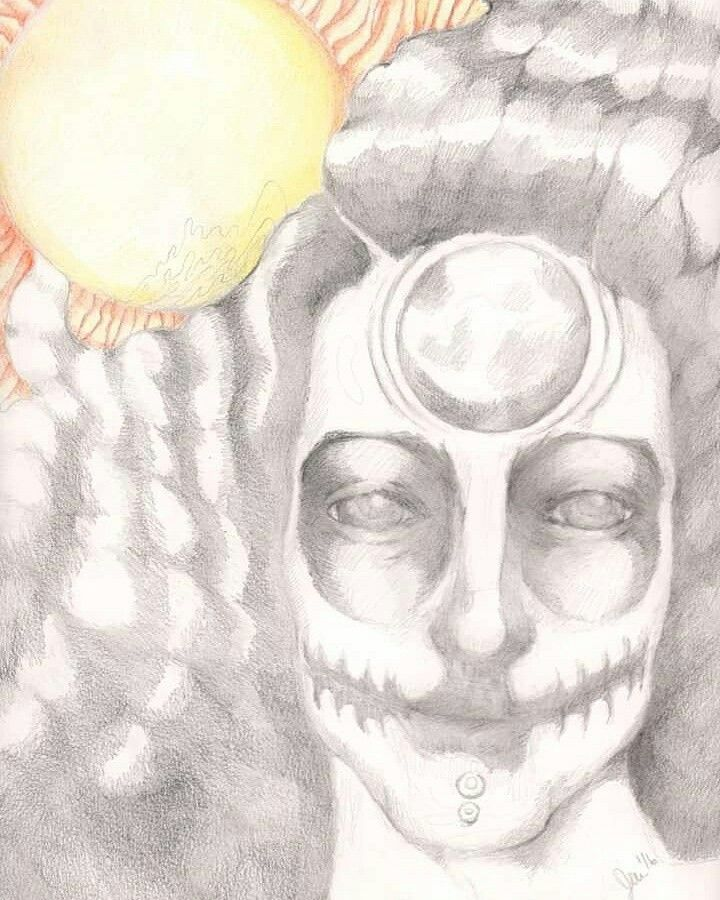 Illustration by Jen Wolfgang. Selene the Moon Goddess. Graphite and color pencil on paper. The yin and yang of sun and Moon power with portrait view of the Greek moon Goddess Selene.