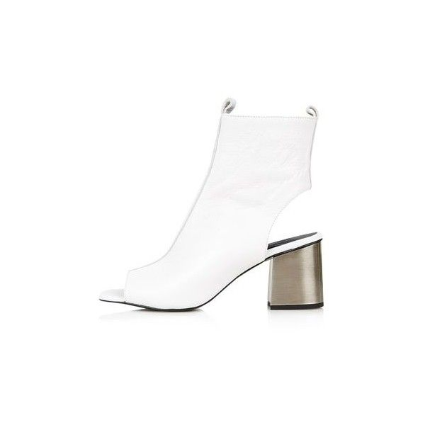 TopShop Marry-Me Flared Peep Boot ($75) ❤ liked on Polyvore featuring shoes, boots, ankle booties, white, leather ankle boots, white leather boots, white high heel boots, white booties and peep toe ankle boots
