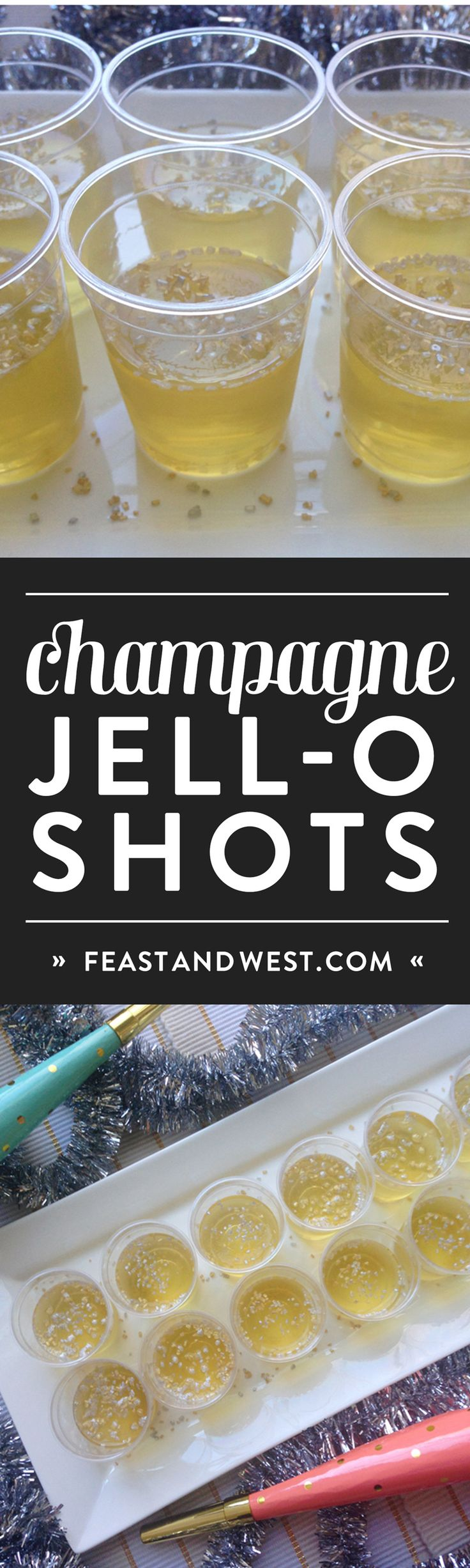 Champagne Jell-O Shots are the best way to celebrate the holidays! Use real sparkling wine, vodka and gelatin to create this party treat! (via feastandwest.com)