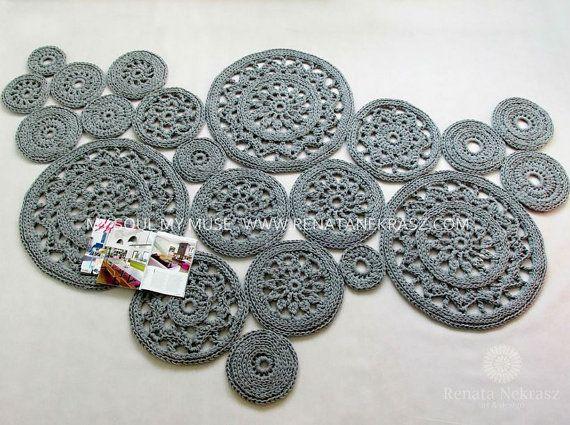 Teppich häkeln gehäkelt Teppich runder Teppich gestrickter