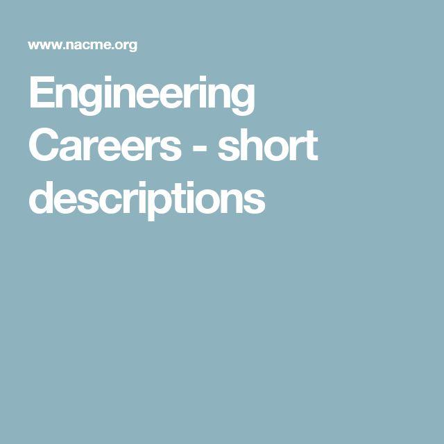 Engineering Careers - short descriptions