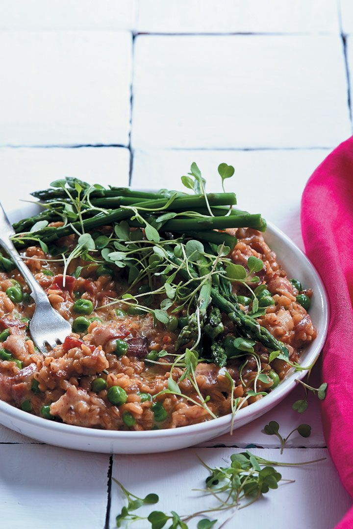 This pea, asparagus and mature Cheddar barley risotto is the perfect addition to your Valentine's dinner for two. Recipe here.