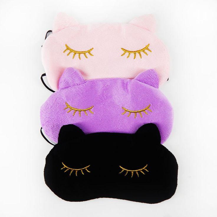 Lucu Kucing Tidur Masker Mata Tidur Siang Kartun Warna Mata Tidur Topeng Hitam Masker Perban di Mata untuk Sleeping-MSK03