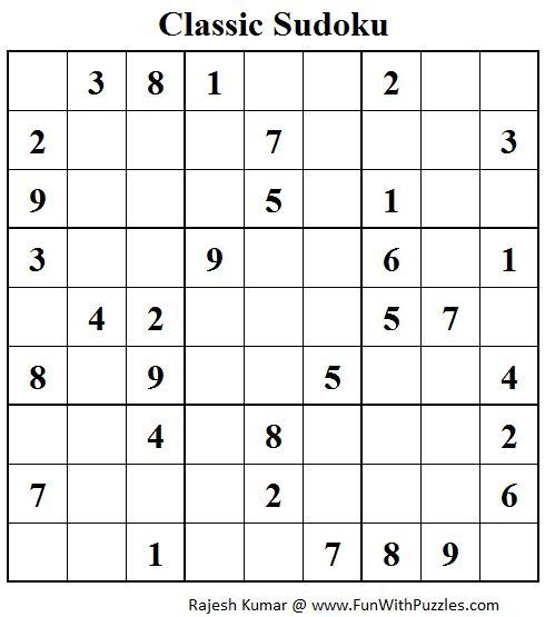 Standard Sudoku (Fun With Sudoku #56)