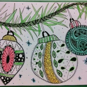 Tree decorations zentangle art. Zana's Cards measure 7.2″ x 5.2″, or 18cm x 13cm.They also include an envelope for you to use to send your cards. #christmaszentangle #treezentangle #zentanglecard #zentangleart #zanascards www.zanascards.com