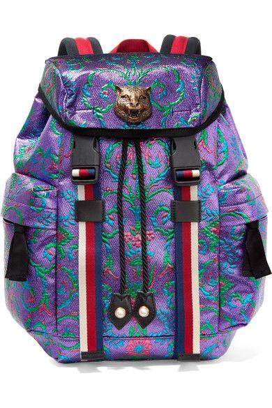 Gucci - Stripe-trimmed Embellished Metallic Brocade Backpack - Purple - one size